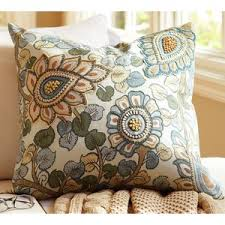 pottery barn geena madhubani floral embroidered pillow cover
