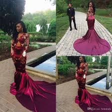 gorgeous mermaid long sleeve burgundy prom dress lace