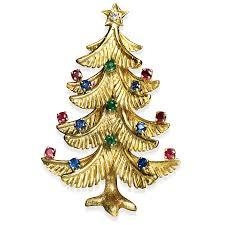 18k Gold Christmas Tree Pin With Precious Stones Hover To Zoom