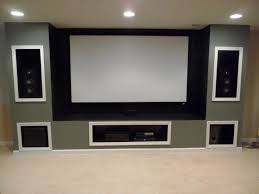 built in entertainment system in basement projection screen