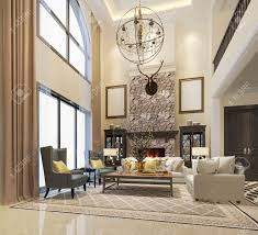 3d Rendering Luxury And Modern Classic Living Room With European..