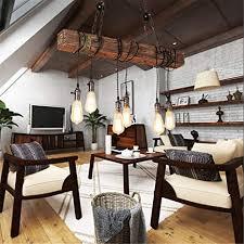 holz retro pendelleuchte industrie rustikal hängele höhenverstellbar bauernhof hängeleuchte esstisch jahrgang hölzern pendelle wohnzimmer küche