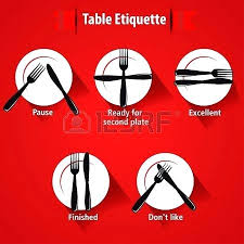 Dining Table Manners Tables Etiquette And Manner Forks Knifes Signals Vector Stock Tips