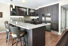 Small Kitchens With Dark Cabinets Contemporary Kitchen Peninsula And Mini Pendant Lights