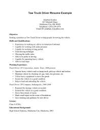 Tow Truck Driver Resume Example Good Templates Free