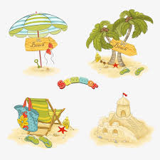 Beach Collection Of Elements Parasol Coconut Tree Sand Castle PNG Image And Clipart