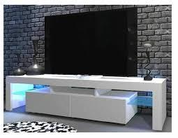bent tv schrank tv tisch lowboard fernsehtisch weiß matt hochglanz fronten led glas 200 cm