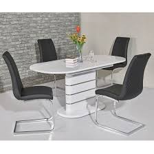 Marila Small Gloss Extendable Dining Set And 4 Orly Grey Chairs