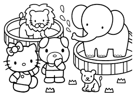 Hello Kitty On Circus Coloring Pages