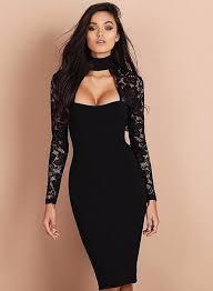 mock neck long sleeve lace panel bodycon dress oasap com