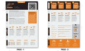 100 Resume Two Pages Vector Creative Minimalist Cv Template With