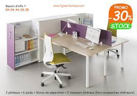 lignes bureau 2 bureaux à avec classeurs de rangement design tom