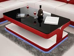 sofatisch design wohnzimmer leder kaffee glas polster beistell tisch rot