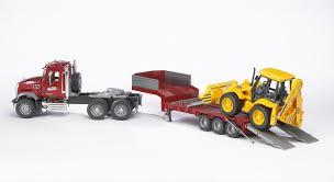 100 Bruder Mack Granite Liebherr Crane Truck MACK With Low Loader And JCB 4CX 02813