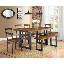 Round Dining Room Tables Walmart by Better Homes And Gardens Mercer 6 Piece Dining Set Walmart Com