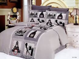 Paris Themed Bedroom Ideas by Inspiring Bedroom With Ivory King Size Bed And Purple Easy Clean