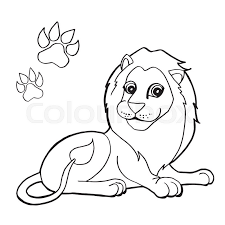 Image Of Paw Print With Lion Coloring Pages Vector