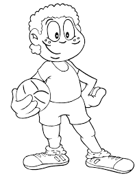 Soccer Coloring Page Boy Holding His Ball