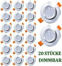 20x led einbaustrahler dimmbar flach 7w 230v led spots ip44 bad
