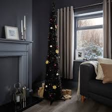 Slimline Christmas Tree by 6ft Pop Up Black Pre Lit U0026 Pre Decorated Christmas Tree