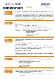 Internship Resume Format 2018