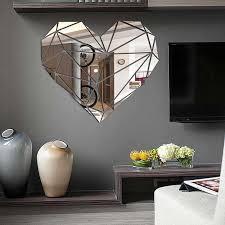 herz acryl spiegel wand aufkleber 3d kreative geometrische