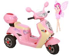 Electric Girls Bike Motorbike Trike Ride On Pink Scooter Kids Battery Powered