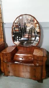 Waterfall Vanity Dresser Set by Vintage Dresser With Round Mirror Round Designs