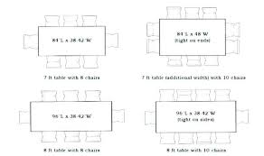 Dining Room Table Width Standard Sizes Average Kitchen In Feet