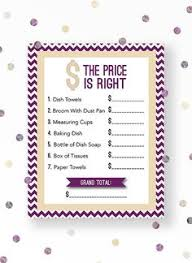 The Price Is Right Bridal Shower Game In Modern Chevron Theme