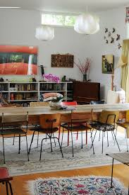Sydney Working Chair Design Dining Room Eclectic With Mismatched Midcentury Modern Chairs Built In Bookshelf