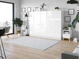 smartbett schrankbett standard 140x200 horizontal weiss weiss hochglanzfront mit gasdruckfedern
