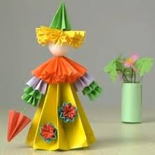 DIY Tutorial Crafts Fold Origami Woman Out Of Paper With Colorful Papers