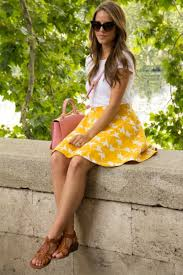 short yellow skirt u0026 t shirt with sandals pictures photos and