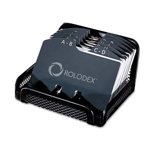 "Rolodex Card File - Black Mesh, Open Business Card File, 2-1/4"" x 4"", 125 Cards"