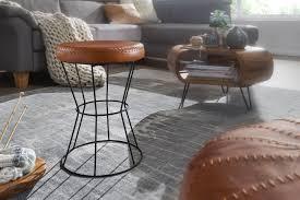 wohnling sitzhocker echtleder metall 35 x 48 x 35 cm design hocker rund dekohocker mit leder bezug moderner lederhocker braun gepolstert