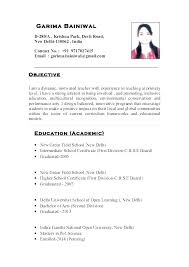 Resume Samples For Teachers Format Of Teacher Primary School