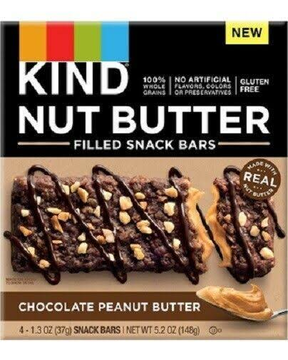 Kind Nut Butter Snack Bars, Chocolate Peanut Butter - 4 pack, 1.3 oz snack bars