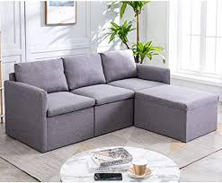 purlove l sofagarnitur 3 sitzer sofa kleine cabrio im wohnzimmer moderne lförmige sofa aus leinenstoff mit chaiselongue für ein
