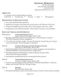 Resume Sample Customer Service Telemarketing Current Include