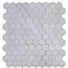 carrara white 4 inch hexagon mosaic tile honed marble from italy