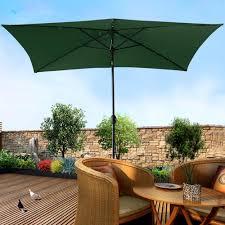 Solar Lighted Rectangular Patio Umbrella by 2x3m Aluminum Patio Umbrella Garden Beach Pool Cafe Parasol With