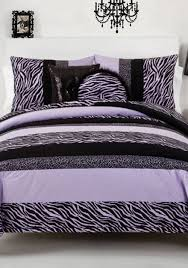 Vince Camuto Bedding by Seventeen Zebra Darling Purple Twin Comforter Set 66 In X 86 In