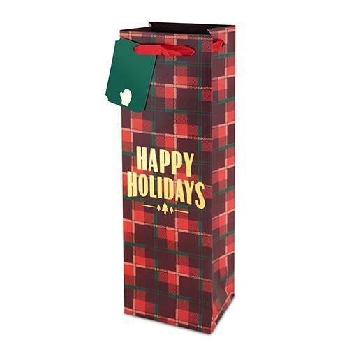 Plaid Happy Holidays 750ml Bottle Bag by Cakewalk
