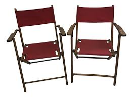 Vintage Wood Folding Chairs With Red Strapping - A Pair Antique Folding Wood Cane Steamer Deck Chair Patio Lounge W Footrest Civil War Carpet Seat Camp As In Museum Sold Solid Mahogany Step Library Ladder Style Reproduction Design Hot Item Ly001 Popular Kids Wooden Rocking 1 X Chairs 9 Vintage House Fniture Osp Home Furnishings Bristow Steel Finis Set Of 4 Black Vintage Folding And Conjoined Chairs Oakwood 1930s Trying To Repair An Need Preservation Advice Beech Wood Foldable Chair