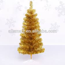 Cheap Small Gold Pet Artificial Christmas Trees On Plastic Stand