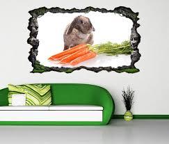 3d wandtattoo hase karotten kaninchen süß tier selbstklebend wandbild wandsticker wohnzimmer wand aufkleber 11o439 wandtattoos und leinwandbilder