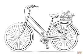 Click The Bicycle With Flower Basket Coloring Pages