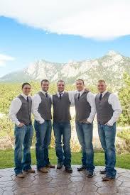 Estes Park Colorado Mountain Wedding Rustic Groomsmen Attire Jeans And Vest In