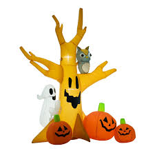 8ft Christmas Tree Ebay by 8ft Lighted Halloween Inflatable Tree With Ghost 3 Pumpkins Owl 5